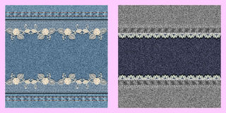Set of two denim textured background with lace. Stock Image