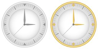 Set of two dials with gray clock hands and gold. Vector stock illustration