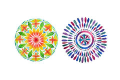 Set of two different colored mandalas Royalty Free Stock Images
