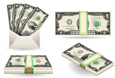 Set of two dollars banknotes Royalty Free Stock Photography
