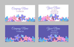 Set of two double-sided floral business cards Royalty Free Stock Photo