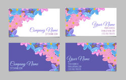 Set of two double-sided floral business cards Royalty Free Stock Images
