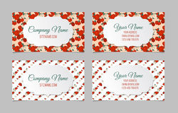 Set of two double-sided floral business cards Stock Photos