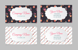 Set of two double-sided floral business cards Royalty Free Stock Photography