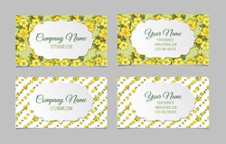 Set of two double-sided floral business cards Stock Photography