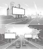 Set of two drawings with street billboards. And road with cars royalty free illustration
