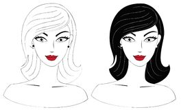 Set of two female heads Royalty Free Stock Image