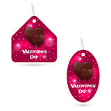 A set of two festive pink labels with melting chocolate hearts. Valentine s Day inscription. Vector Stock Photo