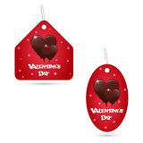 A set of two festive red labels with melting chocolate hearts. Valentine s Day inscription. Stock Photography