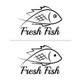 Fresh fish logo symbol icon sign simple black colored set 3. A set of two fish logos, black, sketch style, minimalist with a sample text Royalty Free Stock Photography