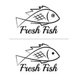 Fresh fish logo symbol icon sign simple black colored set 4. A set of two fish logos, black, sketch style, minimalist with a sample text Royalty Free Stock Photo