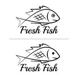 Fresh fish logo symbol icon sign simple black colored set 10. A set of two fish logos with a visible mouth line, black, sketch style, minimalist with a sample Stock Photography
