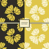 Set of two  floral seamless patterns. Vector set of seamless patterns with floral elements Stock Images