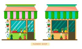 A set of two flower shops in a different color palette on a white background. Flat style illustration vector illustration