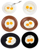 Set from two fried eggs on plates isolated Royalty Free Stock Image