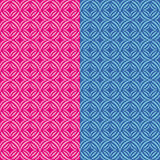 Set two fun patterns with stylized pink and blue flowers Royalty Free Stock Images