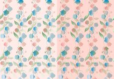 Set of two gentle seamless floral patterns. Beautiful background. With bellflowers Stock Images