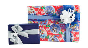 Set two gift box colourful paper wrap ribbon bow isolated Stock Photo