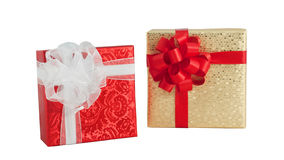 Set two gift box red gold shiny paper wrap ribbon bow isolated Stock Images