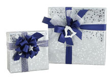 Set two gift box silver shiny paper wrap blue ribbon bow isolated Royalty Free Stock Images