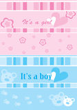 Set of two gift cards. Boy and girl Royalty Free Stock Photo