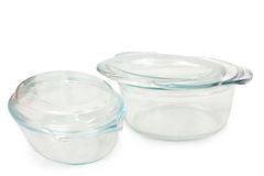 A set of two glass saucepans Stock Image