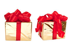Set of two gold boxes Royalty Free Stock Photography