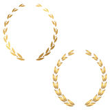 Set of two gold laurel wreath. On white background Royalty Free Stock Photo