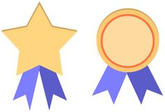 Set of two golden medals with blue ribbons vector illustration