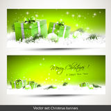 Set of two green Christmas banners Stock Images