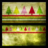 Set of two green Christmas greeting cards. With Christmas trees on grunge background Royalty Free Stock Image