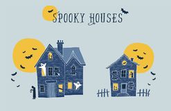 Set of two halloween spooky houses  illustrations. Royalty Free Stock Images