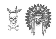 Set of two Hand Drawn American Indian Headdress With Human Skulls. Royalty Free Stock Photo