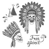 Set of two Hand Drawn American Indian Headdress With Human Skulls. Stock Photos