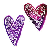 Set of two hand drawn purple watercolor paint hearts with doodles white pattern Royalty Free Stock Photography
