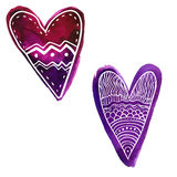 Set of two hand drawn purple watercolor paint hearts with doodles white pattern Royalty Free Stock Image