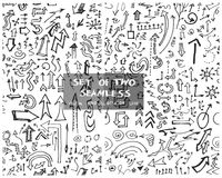 Set of two Hand drawn seamless doodle pattern with arrows eps10 Royalty Free Stock Image