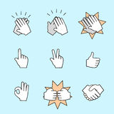 Set of two hands icons. Handshake, clapping Stock Photo