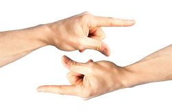 Set of two hands with pointing finger Royalty Free Stock Photography