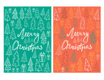 Set of two holiday card template with hand drawn Christmas trees and lettering. Vector Illustration. Royalty Free Stock Images