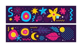 Set of two horizontal banners with abstract hand drawn elements. Can be used for advertising and graphic design. Set of two horizontal banners with abstract Stock Photo
