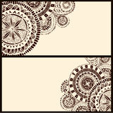 Set of two horizontal banners with brown circle Stock Image