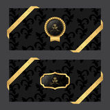 Set of two horizontal banners on a dark background with ribbons and VIP round and oval logo. Vector Royalty Free Stock Image