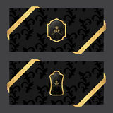 Set of two horizontal banners on a dark background with ribbons and VIP square and oval logo. Vector Royalty Free Stock Images
