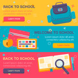 Set of two horizontal banners with school supplies. Royalty Free Stock Photo