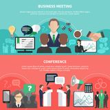 Conference Horizontal Banners Collection. Set of two horizontal business meeting banners with editable text and flat images symbols and pictograms vector Stock Images