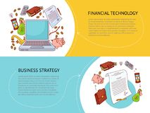 Set of two horizontal finance and business banners. Set of two horizontal banner templates, financial technology and business strategy concept with finance and Royalty Free Stock Images