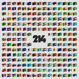 Set of two hundred and fourteen national flags Stock Image