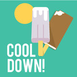 Set of two ice cream, flat icons,  Royalty Free Stock Photography