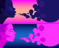Set of two illustrations girl blow bubbles Stock Photography